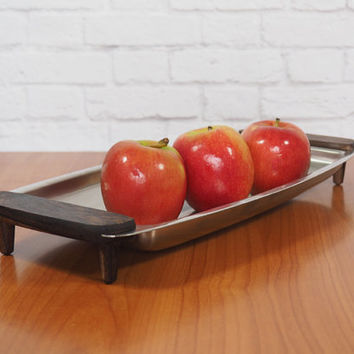 Vintage Voss DENMARK Oblong Stainless Steel Serving Tray / Teak or Rosewood Handles / Danish Modern Kitchen