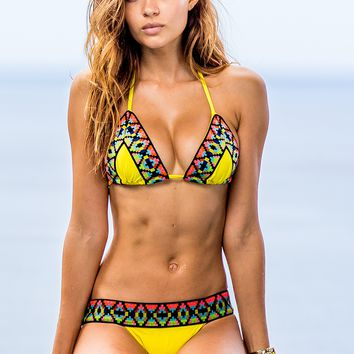 Sauvage Yellow Tribal Bikini Set