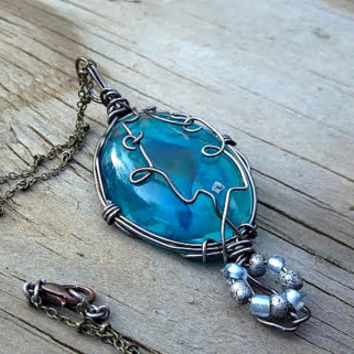 Wire Wrapped Jewelry - Twisted Wrapping - Whimsical Folded - Something Blue - Oval Pendant - Light to Dark Blue Resin Necklace - Bright Blue