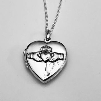 Claddagh Heart Locket, Heart Locket, Celtic Locket, Claddagh Locket, Sterling Silver Pendant, Sterling Silver, Gift Necklace, Gifts for Her