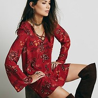 Free People Womens Heart Beat Printed Tunic