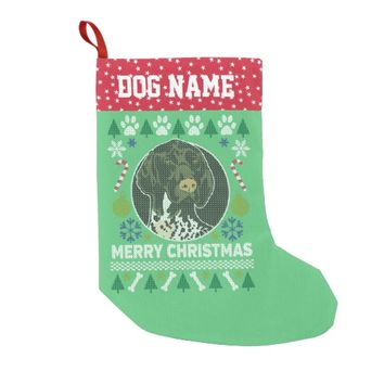 German Shorthaired Pointer Dog Ugly Christmas Small Christmas Stocking