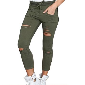 Spring Autumn Pants Women Denim Skinny Cut Pencil Pants High Waist Stretch Jeans Trousers Cotton Drawstring Slim Pants HN7949