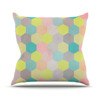 "Louise Machado ""Pastel Hexagon"" Geometric Outdoor Throw Pillow"