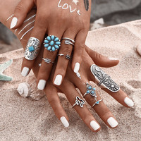 9Pcs/ Fashion Blue Stone Bohemian Ring Set Vintage Steampunk Cross flower Anillos Ring Knuckle Rings for Women New Jewelry 0527