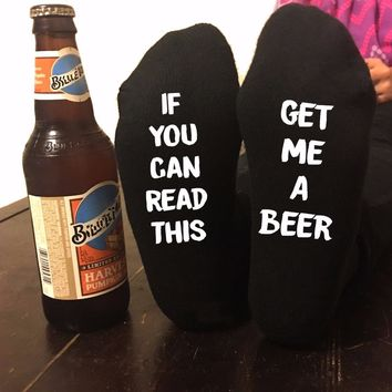If You can read this Bring Me a Glass of Wine Black Socks Funny Custom Women Men 2017 New Socks