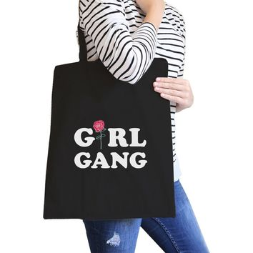 Girl Gang Rose Black Canvas Bag Gift Ideas For Girls Tote Bags