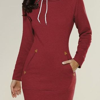 Streetstyle  Casual Burgundy Plain Pockets Side Zipper Hooded Cowl Neck Sweatshirt Mini Dress