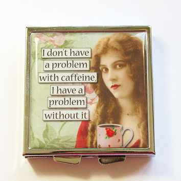 Funny pill box, Funny pill case, Coffee Lover, Caffeine, Pill Case, Pill Box, 4 Sections, Square Pill case, Square Pill box, humor (4334)