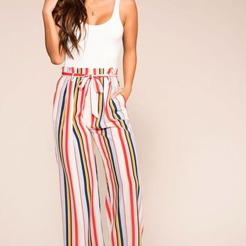 Cleo Striped Highwaisted Paperbag Pants