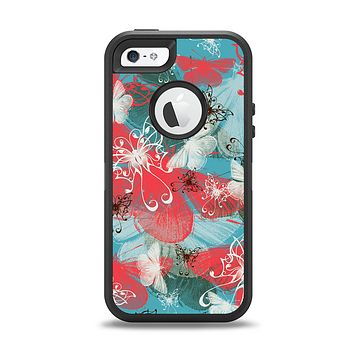 The Blue & Coral Abstract Butterfly Sprout Apple iPhone 5-5s Otterbox Defender Case Skin Set