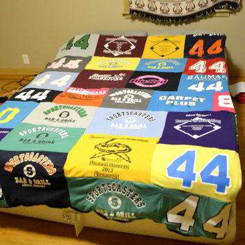 Memory Shirt Blanket, Shirt blankets, Padded blankets, old t shirts re-purposed, up-cycle blanket, Memory blankets, baby adult blanket