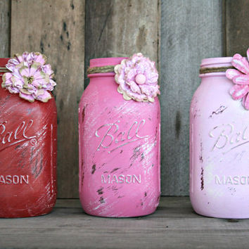 Home and Wedding Decor - Distressed Mason Jar, Vase or Organization - Red and Pink
