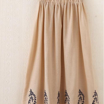 Summer Style Elastic Embroidery Skirt