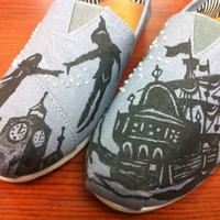 Handpainted Custom Silhouette Peter Pan Beaded Toms