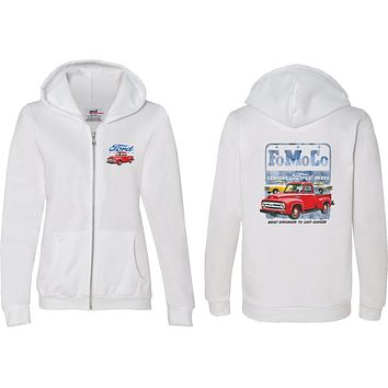 Ladies Ford Full Zip Hoodie FoMoCo Parts Front and Back