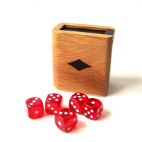 vintage wood dice box game storage container retro modern decorative home decor red dice natural black mens small