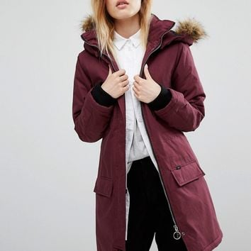 Vans Burgandy Parka With Faux Fur Hood