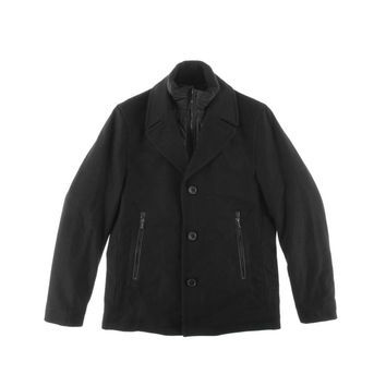 MICHAEL Michael Kors Mens Wool Leather Trim Coat