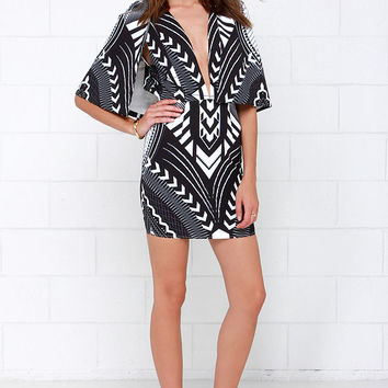 Rise of Dawn Zuma Black and White Print Dress