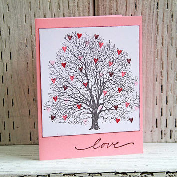 Tree With Hearts Greeting Card, Handmade Valentine's Day Card, Pink and White Notecard for Wedding Anniversary, Love Note