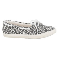 Courtney Embroidered Boat Shoe - Black/White