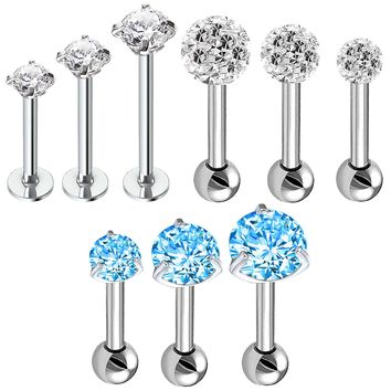 BodyJ4You 9PC Tragus Labret Studs 16G Ear Cartilage Monroe Lip Helix Daith Bar CZ Steel Jewelry