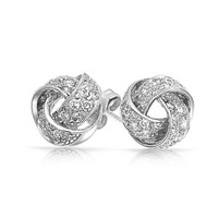 Bling Jewelry CZ Pave Love Knot Sterling Silver Stud Earrings