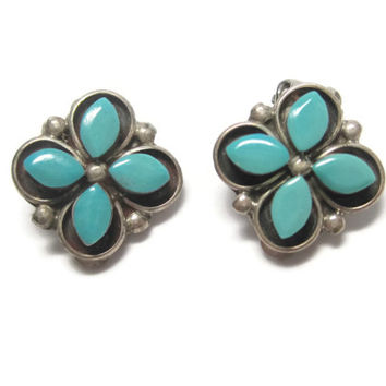 Vintage Navajo Sterling Turquoise Flower Clip On Earrings