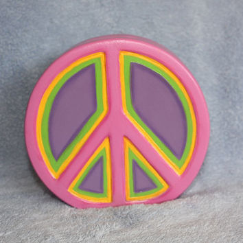 Handpainted Ceramic Rainbow Peace Bank by FlutterbyConnections