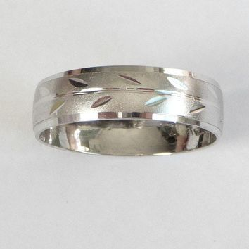 White gold wedding ring women and men's wedding band with leaves
