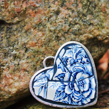 Indigo Rose - OOAK Mosaic Ornament, Valentine Heart, Mosaic Heart, Mosaic Jewelry, Broken China Jewelry, Broken China Mosaic Pendant