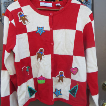 80s Ugly Christmas   cardigan  red white checker gingerbread men    candy canes hearts  sz med