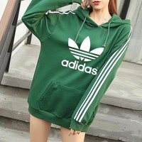 """""""Adidas"""" Women Casual Stripe Letter Clover Print Loose Long Sleeve Pullover Hooded Sweater Sweatshirt"""