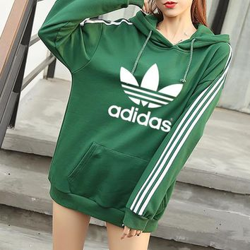 """Adidas"" Women Casual Stripe Letter Clover Print Loose Long Sleeve Pullover Hooded Sweater Sweatshirt"