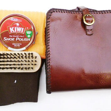 Mans shoe shine kit brown cco leather pouch dope
