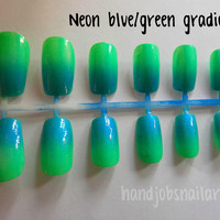 Neon blue/green gradient nail art set