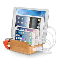Upow 5 Port Usb Charging Station Dock With Apple Watch Stand Bamboo Multi Device Organizer For Fast Charging Smart Phones Tablets Iphone Ipad Samsung Galaxy And Others