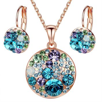 "[Presented by Miss New York] Leafael ""Ocean Bubble"" Swarovski Crystal Multi-stone Round Disc Pendant Necklace Earrings Jewelry Set, 18"" + 2"""
