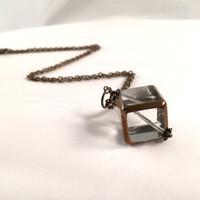 Glass and Bronze Cube Necklace