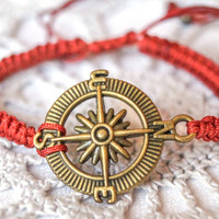 Nautical jewelry red bracelet compass charm bracelet- antique brass- handmade macrame bracelet artisan handcrafted jewelry
