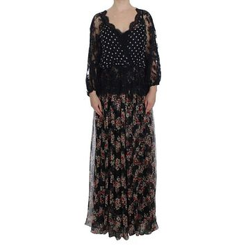 Dolce & Gabbana Floral Lace Silk Long Maxi Dress