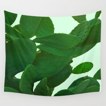 Cactus On Cyan Background Wall Tapestry by ARTbyJWP