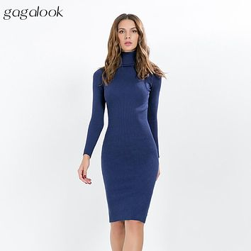 gagalook Knitted Winter Dress Women Office Sexy Black Red Blue Turtleneck Ribbed Midi Bodycon Sweater Dress Robe Femme WM
