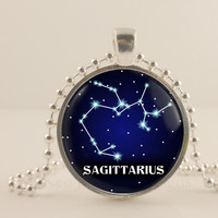 Sagittarius birth sign, Zodiac, Astrology glass and metal Pendant necklace Jewelry.