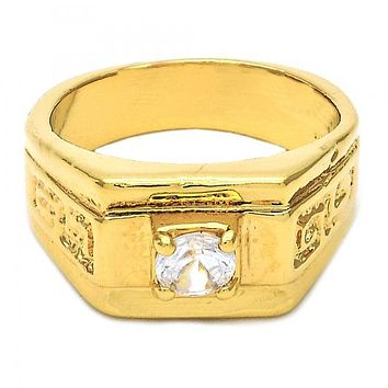 Gold Layered Mens Ring, Solitaire and Greek Key Design, with Cubic Zirconia, Gold Tone