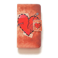 LG G4 Wallet Borken Heart G4 Wallet Case Love For LG G4 Romantic LG G4 Wallet Retro L545