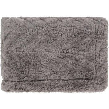 Lapin Faux Fur Throw Blanket - Grey