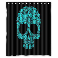 Hot and beautiful Custom Flowers Sugar Skull Home Living Waterproof Bathroom Best Decor Shower Curtain 60x72