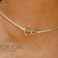 Sideways Silver Anchor Anklet